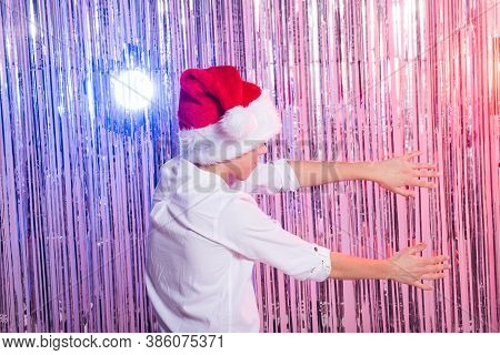 Cute Funny Santas Helper Dancing On Shiny Background. Christmas Holidays Concept.