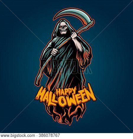 Skull Grim Reaper Halloween Pumpkins Illustrations For Merchandise Horror Concept Clothing Wear And