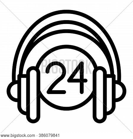 24 Hours Call Center Icon. Outline 24 Hours Call Center Vector Icon For Web Design Isolated On White