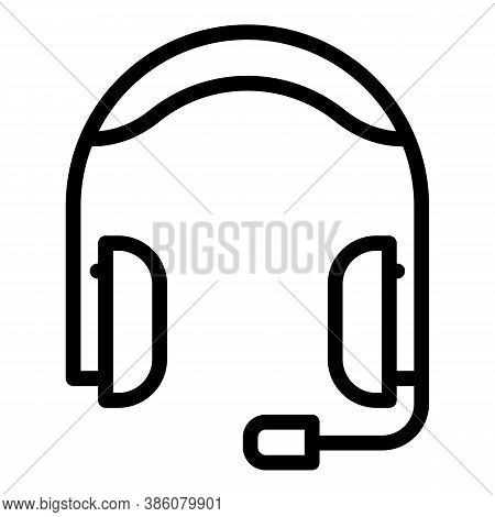 Audio Headset Icon. Outline Audio Headset Vector Icon For Web Design Isolated On White Background