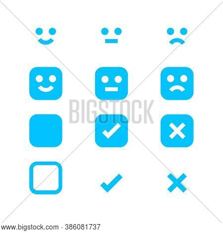 Light Blue Icon Emotions Face, Emotional Symbol And Approval Check Sign, Emotion Faces And Check Mar