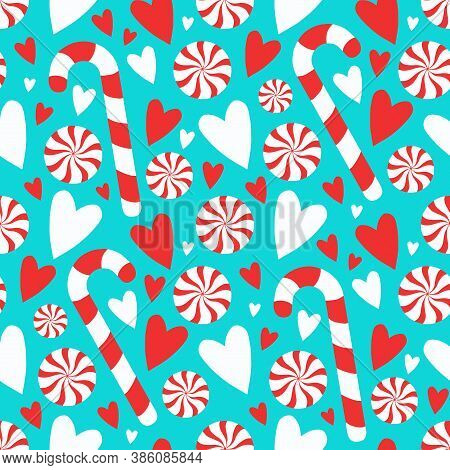 Cartoon Style Teal Candy Cane And Peppermint Twist With Hearts Seamless Seasonal Christmas Graphic I