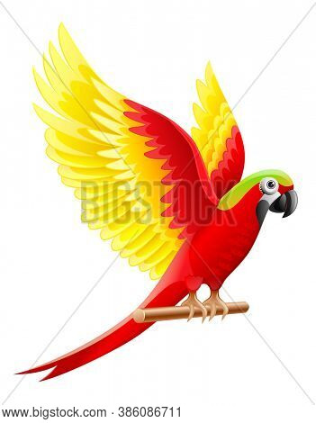 Budgerigar parrot Ara, macaw waving with wings with coloured feathers, sitting on wooden perch, isolated on white background. 3D illustration.