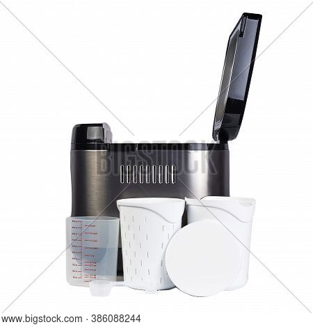 Bread Maker Isolated On White Background. Home, Electronic, Programmable Bread Baker And Accessories