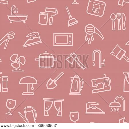 Household Goods And Appliances, Seamless Pattern, Color, Pink. Pink Icons On A Pink Field. Thin Outl