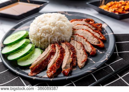 Rice Roasted Duck With Sauce. Roasted Duck Topping On Thai Rice, Roasted Bbq Duck With Gravy Sauce O