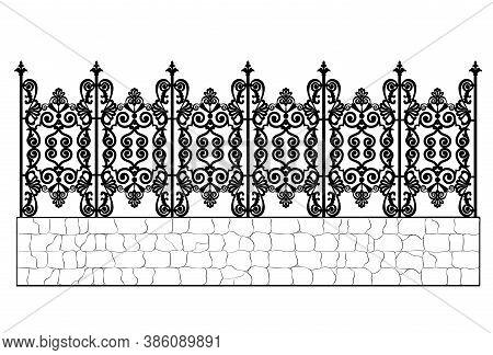 Black Wrought Iron Fence Isolated On White Background