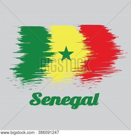 Brush Style Color Flag Of Senegal, Green Yellow And Red; Charged With A Green Five-pointed Star At T