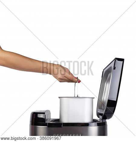 Bread Maker Isolated On White Background. Home Electronic Programmable Bread Maker With Open Lid.sid
