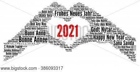 Happy New Year 2021 In Different Languages Illustration