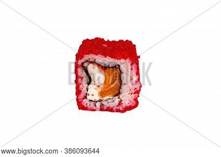Japanese Maki Rolls. Tobiko Caviar, Rice, Eel, Crab, Surimi, Philadelphia, Cucumber, Avocado, Hot Sa