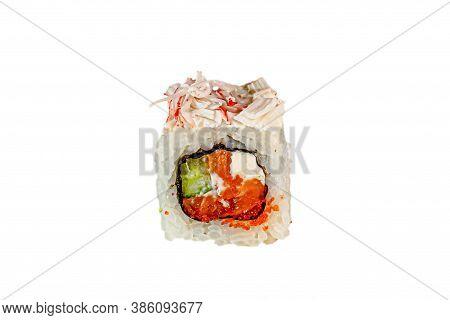 Japanese Maki Rolls. Crab, Surimi, Rice, Tuna, Philadelphia, Tobiko Caviar, Nori. For Menus. Isolate