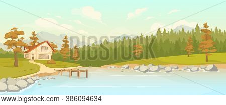 Residence In Fall Woods Flat Color Vector Illustration. Rural Home Near Lake. Residence Cottage In A