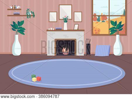 Cozy Living Room Flat Color Vector Illustration. Inside Residential House. Carpet On Floor. Furnishe