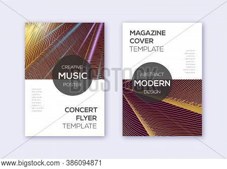 Modern Cover Design Template Set. Gold Abstract Lines On Bordo Background. Exceptional Cover Design.