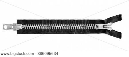 Black Open Zipper Closeup Isolated On White