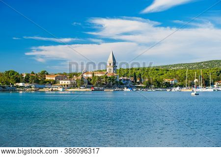 Old Town Of Osor Between Islands Cres And Losinj, Croatia, Adriatic Seascape In Foreground