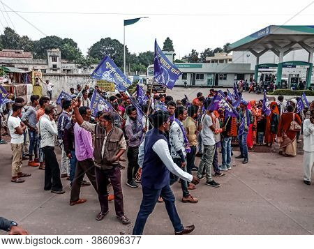District Katni, India - December 24, 2019: Indian Village People Participation On Political Rally Ro