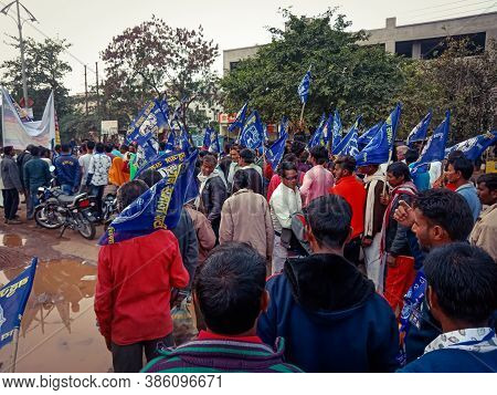 District Katni, India - December 24, 2019: Indian Village People Attending Political Rally Road Show