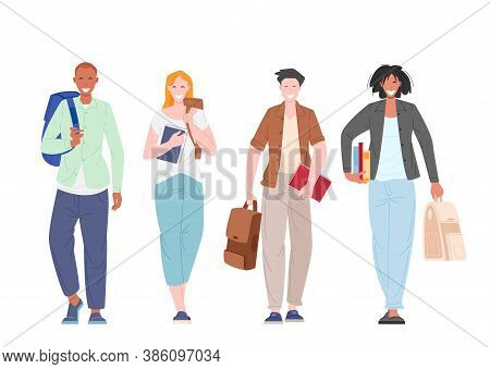 Group Of Multicultural Students Walking Holding Books And Backpacks Flat Vector Illustration. Happy