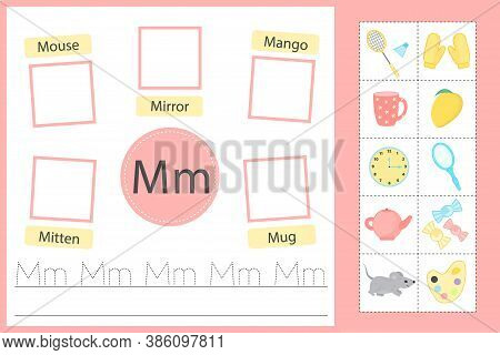 Alphabet Tracing Worksheet For Preschool And Kindergarten. Writing Practice Letter M. Exercises With