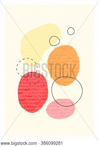 Minimalist Poster With Oval Shapes. Hand Painted Vector Texture. Geometric Contemporary Collage Illu