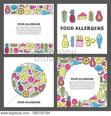 Set Of Cards With Lettering And Doodle Colored Food Allergens Icons Including Fish, Seafoods, Cheese
