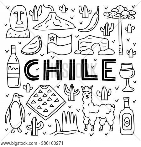 Poster With Lettering And Doodle Outline Chile Icons Including Easter Island Statue, Villarrica Volc