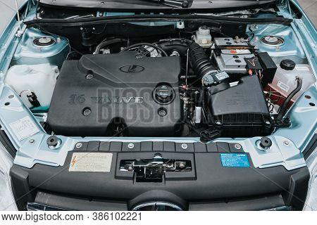 Novosibirsk, Russia - September 19, 2020: Lada Granta, Car Engine Close-up. Internal Combustion Engi