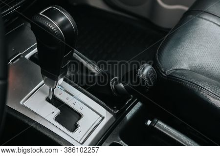 Novosibirsk, Russia - September 19, 2020: Mitsubishi Pajero Sport, Close Up Of The Manual Gearbox Tr