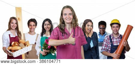 Beautiful German Nurse With Group Of International Apprentices Isolated On White Background For Cut