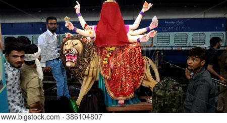 District Katni, India - October 04, 2019: Lord Durga Statue A Holy God Art Transporting Via Indian T