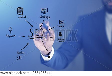 African American Seo Specialist Drawing Web Content Optimization Scheme With Words Internet Content