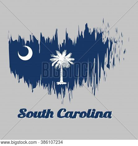 Brush Style Color Flag Of South Carolina, White Palmetto Tree On An Indigo Field. The Canton Contain