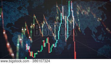 Stock Market Graph Chart. The Digital Information For Forex Trading Market. Abstract Glowing Forex C