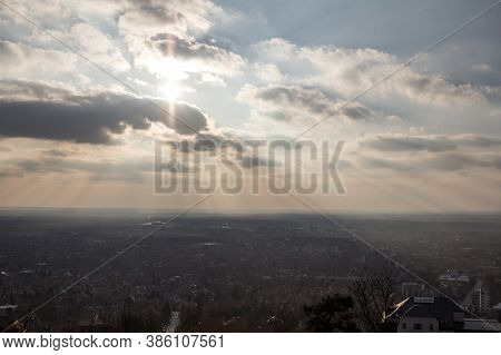 Aerial Panorama Of Vrsac, In Voivodina, Serbia, During A Cloudy Sunset, From The Vrsacki Breg, Or Vr