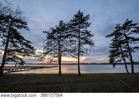 Palic Lake, In Subotica, Serbia, With Pine Trees And A Green Lawn In The Background, During An Autum