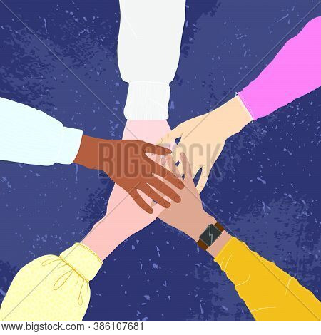 Hands Of Multiethnic People Making Unity, Togetherness, Support And Solidarity Gesture. Flat Vector
