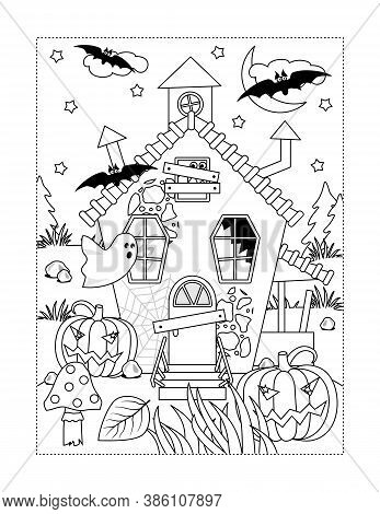 Coloring Page With Halloween Haunted House, Ghosts, Pumpkins, Bats, Spiderweb, Toadstool