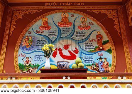 Hoi An, Vietnam, September 20, 2020: Colorful Mural On The Rear Facade Of Tinh Xá Ngoc Cam Temple. H