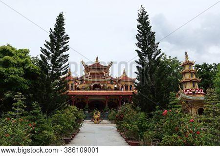 Hoi An, Vietnam, September 20, 2020: View From The Tinh Xá Ngoc Cam Temple Garden. Hoi An, Vietnam