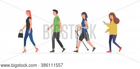 Walking People. Various Characters Outdoors Physical Activity. People On The Street In Different Act