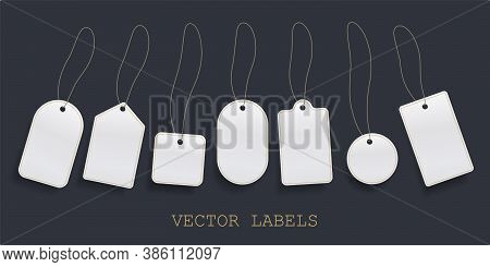 Set Of Hanging Label Price, White Blank Paper Prices Tag Or Empty Badges Labels Vector Template.