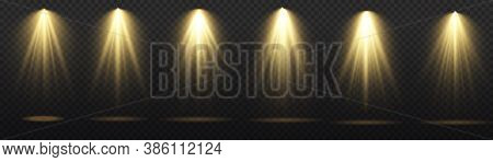 Set Of Spotlight Isolated On Transparent Background. Light Sources, Concert Lighting, Stage Spotligh