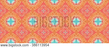 Rainbow Summer Pattern.  Multicolor Natural Ethnic Illustration. Orange, Green And Blue Textile Prin