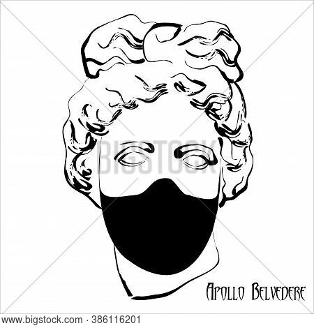 Trendy Vector Print With Head Of Apollo Statue Wearing Face Mask. Drawing Of A Modern Linear Sketch