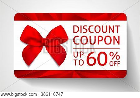 Discount Coupon With Abstract Polygon Background, Geometric Poly Pattern (triangle Shape Texture), R