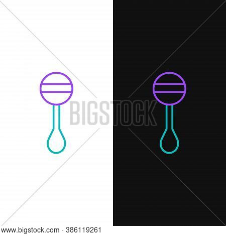 Line Rattle Baby Toy Icon Isolated On White And Black Background. Beanbag Sign. Colorful Outline Con