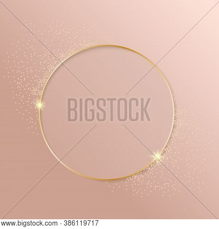 Gold Shiny Glowing Vintage Frame With Shadows On Fahion Pink Background. Golden Luxury Realistic Bor