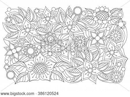 Abstract Floral Background With Hand Drawn Pattern In Boho Style. Isolated Page For Adult Coloring A